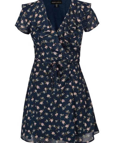 ... Svetloružové kvetované maxišaty so zvonovými rukávmi. Tmavomodré  kvetované zavinovacie šaty 3fe3b08a7f7