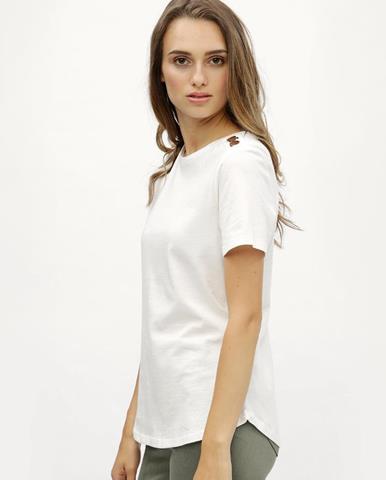 96917ffd289d Biele tričko s detailmi v zlatej farbe