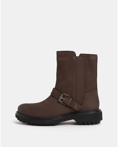 c8d7ce9b09c2 Hnedé dámske kožené členkové topánky s prackou Goex Asheely