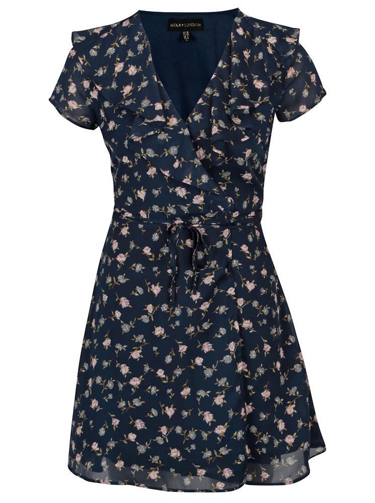 ZĽAVA 31% na Tmavomodré kvetované zavinovacie šaty značky MELA LONDON eef3c30a31f